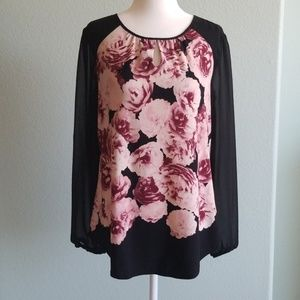 Dress Barn black and floral blouse
